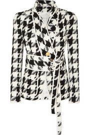 Pierre Balmain Belted houndstooth tweed blazer
