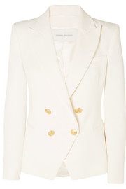 Double-breasted cotton-blend twill blazer