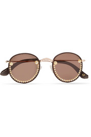 Guaca embellished round-frame metal and faux leather sunglasses