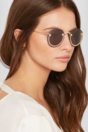 Freda Banana Guaca embellished round-frame metal and faux leather sunglasses