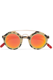 Martin embellished round-frame acetate and rose gold-tone sunglasses