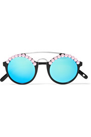 Leo embellished round-frame acetate and silver-tone mirrored sunglasses