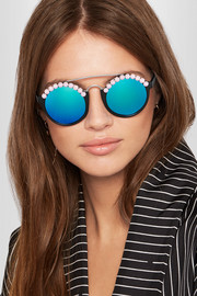 Freda Banana Leo embellished round-frame acetate and silver-tone mirrored sunglasses
