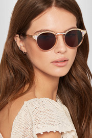 Alexis faux pearl-embellished round-frame acetate sunglasses