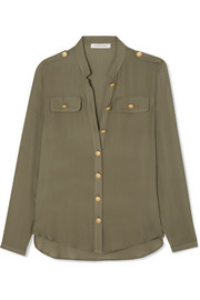 Pierre Balmain Button-detailed silk-georgette shirt
