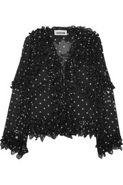 Ruffled lace-up polka-dot silk blouse