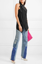 Satin-trimmed wrap-effect open-back crepe top
