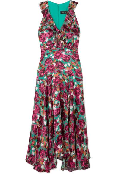 Saloni Rita Kleid aus Devoré-Samt mit Rüschen