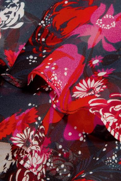 Saloni Isa bedrucktes Kleid aus Seidenchiffon mit Volants