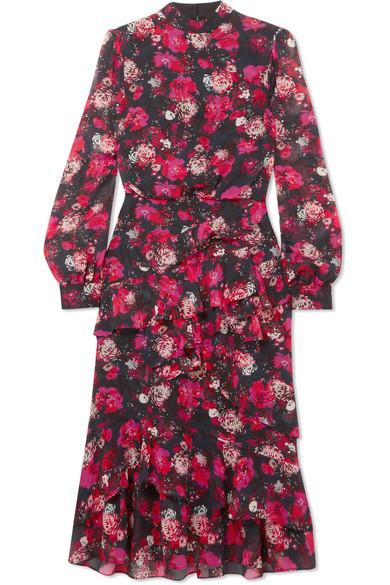 Saloni - Isa Ruffled Printed Silk-chiffon Dress - Red