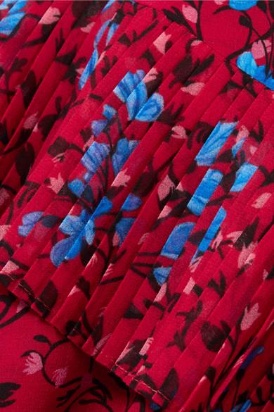 Saloni Lexie asymmetrisches Seidenkleid aus bedrucktem Crêpe de Chine mit Falten