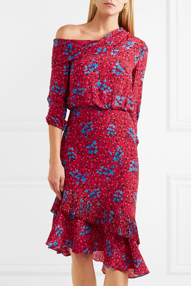 Fold Saloni Lexie Asymmetrical Silk Dress In Printed Crêpe De Chine With