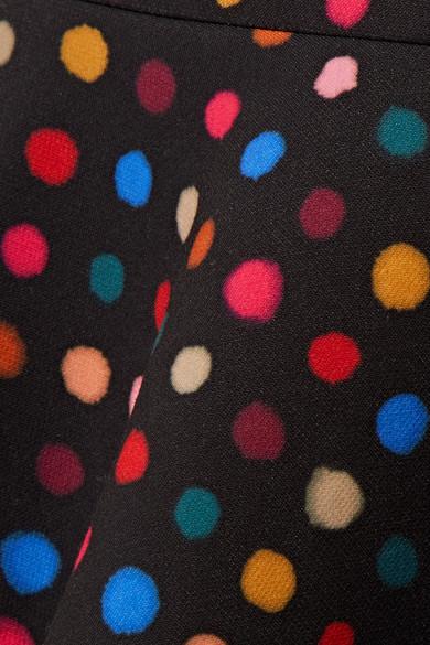 Saloni Portia ausgestellter Midirock aus Crêpe mit Polka-Dots