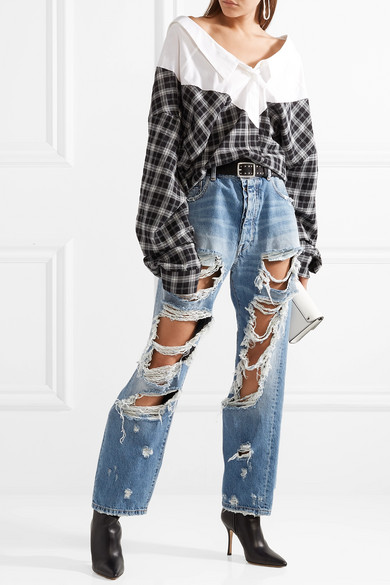 Unravel Project Oversized-Jeans in Distressed-Optik