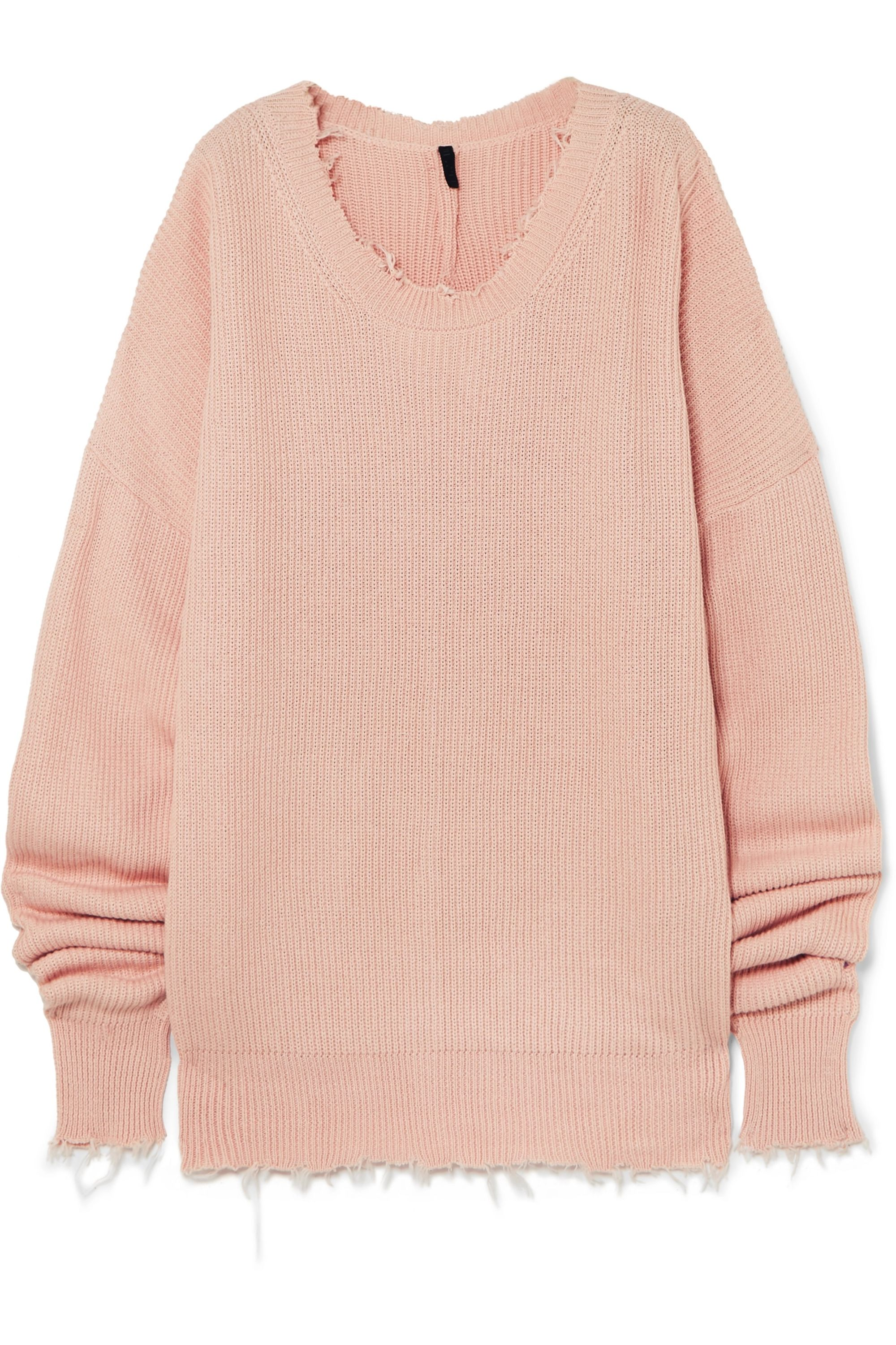 Unravel Project Oversized frayed cotton and cashmere-blend sweater