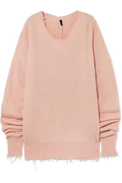 Unravel Project Oversized-Pullover aus einer Baumwoll-Kaschmirmischung mit Fransen
