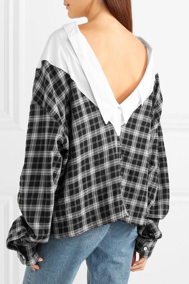 Unravel Project Hemd aus einer karierten Baumwoll-Seidenmischung mit Einsatz aus Popeline