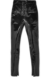 Lace-up vinyl skinny pants
