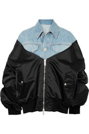 Unravel Project Denim and satin-shell bomber jacket