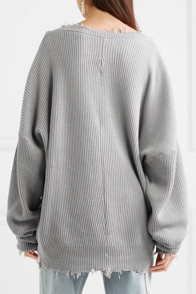 Unravel Project Oversized-Pullover aus einer gerippten Baumwoll-Kaschmirmischung mit Fransen
