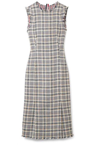 Thom Browne Kleid aus Tweed aus einer Baumwollmischung mit Fransen