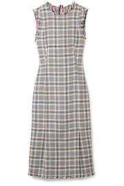 Thom Browne Fringed cotton-blend tweed dress