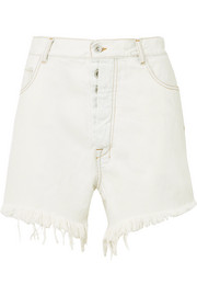 Unravel Project Oversized frayed denim shorts