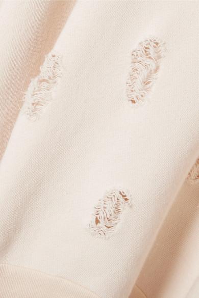 Unravel Project Oversized-Sweatshirt aus Baumwoll-Jersey mit Satinbesätzen in Distressed-Optik