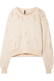 Unravel Project Oversized satin-trimmed distressed cotton-jersey sweatshirt