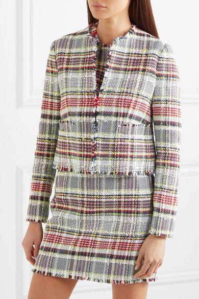 Thom Browne Jacke aus Tweed aus einer Baumwollmischung mit Fransen