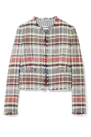 Thom Browne Frayed cotton-blend tweed jacket