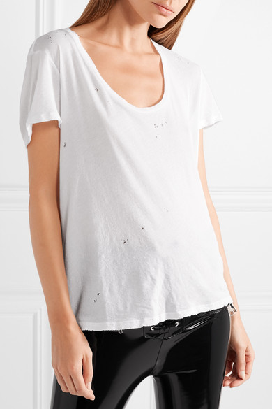 Unravel Project T-Shirt aus Baumwoll-Jersey in Distressed-Optik