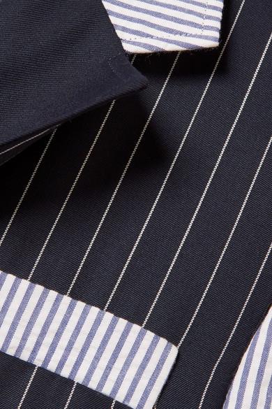 Thom Browne Patchwork-Blazer aus Seersucker und Twill aus einer Wollmischung mit Streifen