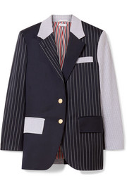 Thom Browne Patchwork striped wool-blend seersucker and twill blazer