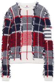 Thom Browne Frayed intarsia cashmere-blend sweater