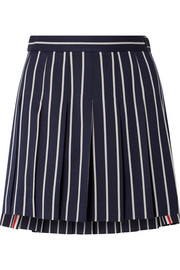 Thom Browne Pleated striped wool and cotton-blend twill mini skirt