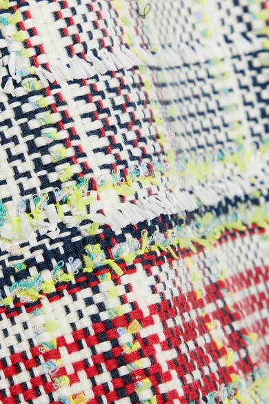 Thom Browne Minirock aus Tweed aus einer Baumwollmischung mit Fransen