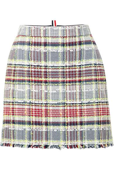 Mini-jupe En Tweed Thom Browne En Coton Mélangé Avec Franges