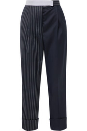 Thom Browne Patchwork striped wool-blend seersucker and twill tapered pants