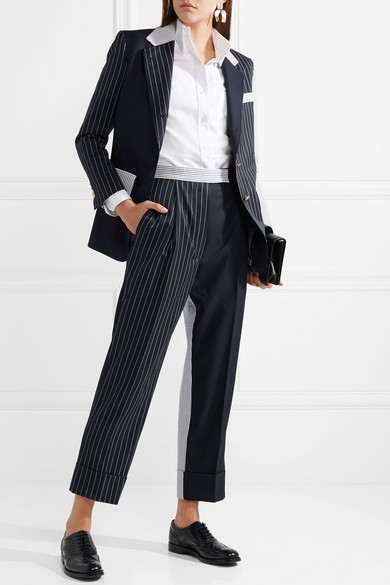 Patchwork Striped Wool Blend Seersucker And Twill Tapered Pants by Thom Browne