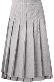 Thom Browne Pleated striped cotton-seersucker midi skirt