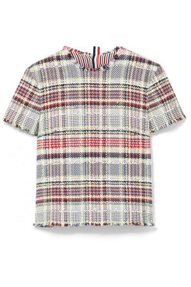 Thom Browne Tweed-Oberteil aus einer Baumwollmischung mit Fransen