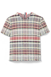Thom Browne Frayed cotton-blend tweed top