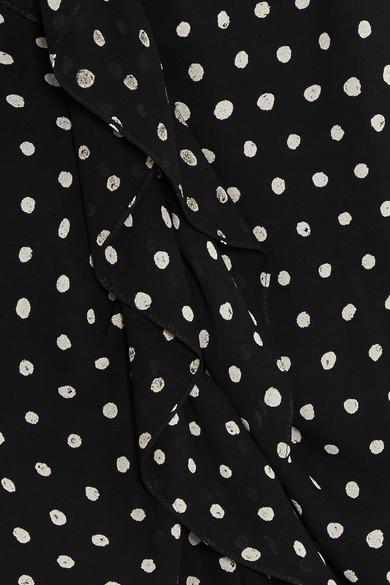 Saint Laurent Minikleid aus Crêpe mit Polka-Dots und Volants
