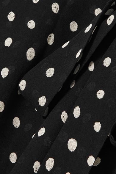 Saint Laurent Minikleid aus Crêpe mit Polka-Dots
