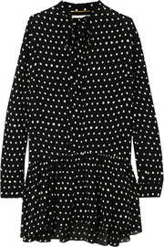 Saint Laurent Mini-robe en crêpe à pois