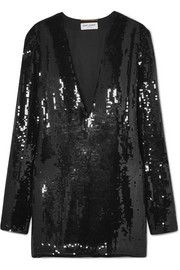 Saint Laurent Mini-robe en tulle à sequins