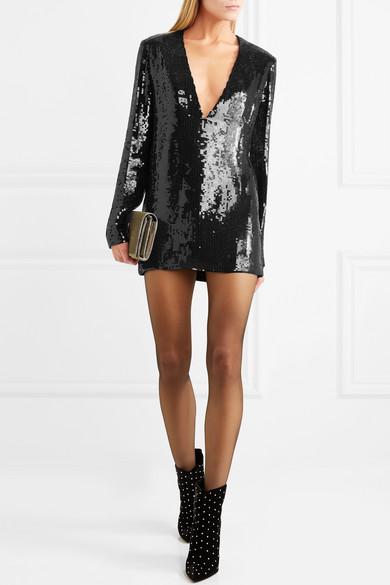 Saint Laurent Minikleid aus paillettenverziertem Tüll