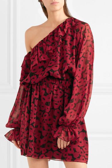 Saint Laurent Minikleid aus Seiden-Georgette mit floralem Print und asymmetrischer Schulterpartie
