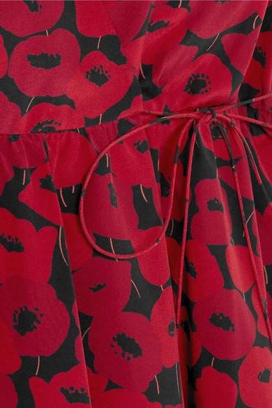 Saint Laurent Minikleid aus Seide mit floralem Print in Wickeloptik